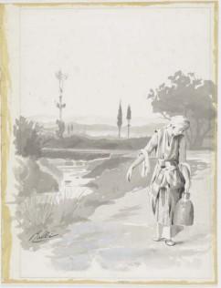 Σχέδιο από την εικονογράφηση του μυθιστορήματος Λουκής Λάρας του Δ. Βικέλα, σινική μελάνι και υδατόχρωμα σε χαρτί, 24,5 χ 30,5 εκ., Συλλογή Αθανασίου και Ελισάβετ Γιαννούκου, Αθήνα Πηγή: www.lifo.gr