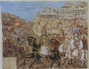 """""""Γεώργιος Καραϊσκάκης στην πολιορκία της Ακρόπολης"""" Θεόφιλος Χατζημιχαήλ.Συλλογή Μουσείου Θεόφιλου."""